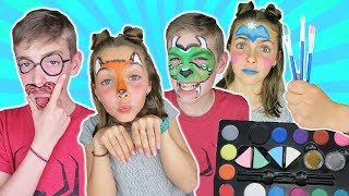 Brother VS Sister FACE PAINT CHALLENGE Round 3 | Animal and People Face Paint For Kids