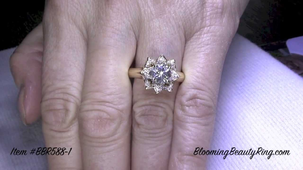 halo with rings design flower engagement ring lotus beautiful