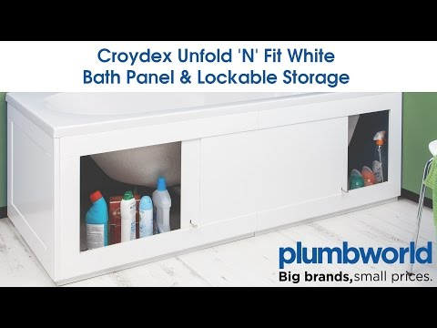 Croydex Unfold 'N' Fit White Bath Panel & Lockable Storage - Plumbworld