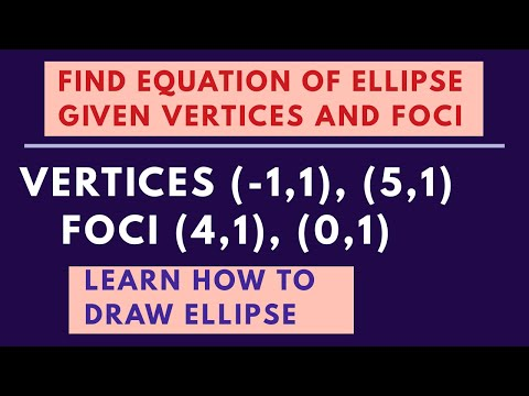 Equation of ellipse given vertices and foci | graphing ellipses | conic sections - [PART 15]