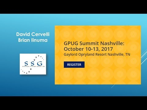 Planning for Summit 2017 - By David Cervelli (Strategic Systems Group, Inc.)
