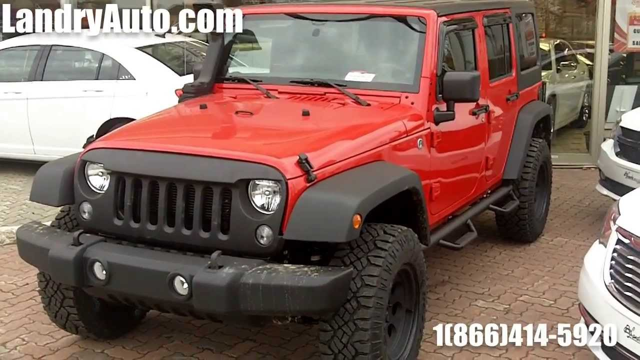 Beautiful 2014 Jeep Wrangler Unlimited Sport Red Customized By Landry Auto Jeep Laval    YouTube