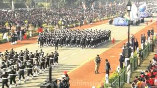 Marching bands from the Indian Army, Navy and Air Force at the Republic Day parade in Delhi