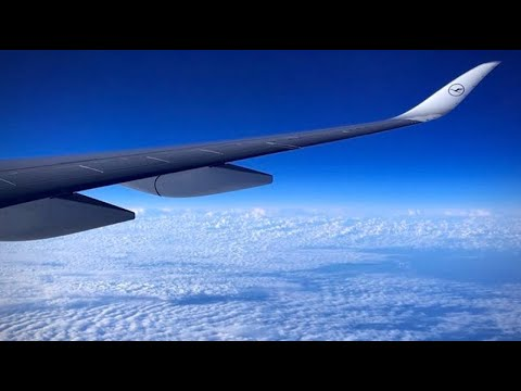(HD) Lufthansa Airbus A350-900 (Wing View - Economy) Boston to Munich Airport