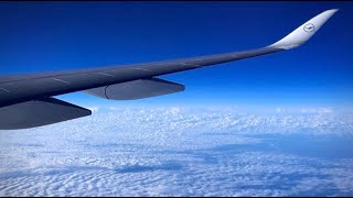 (HD) Lufthansa Airbus A350-900 (Wing View - Economy) Boston to Munich Airport