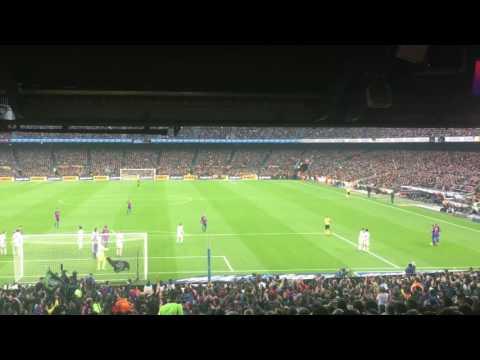 Suarez goal from tribune !! Barcelona 1-1 Real Madrid el clasico 2016