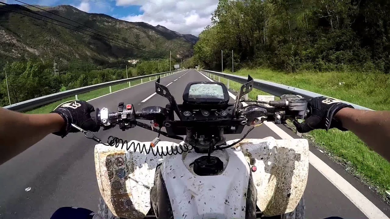 Spanish mountain roads yamaha raptor 700 yfz450r atv quad bike
