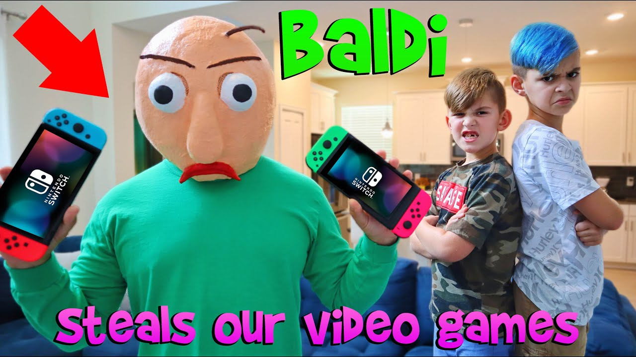 BALDI STEALS OUR VIDEO GAMES! In Real Life Scavenger Hunt (FUNhouse Family)