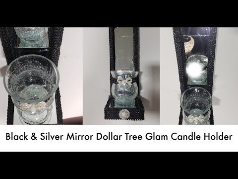 Black & Silver, Mirrored Dollar Tree Glam Candle Holder/Wall Sconce