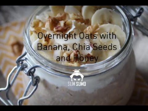 Overnight Oats with Banana, Chia Seeds, Peanut Butter and Honey