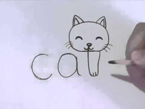 Как нарисовать котёнка из слова cat
