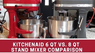 Comparison of Kitchenaid professional 6 qt vs commercial 8 qt stand mixer