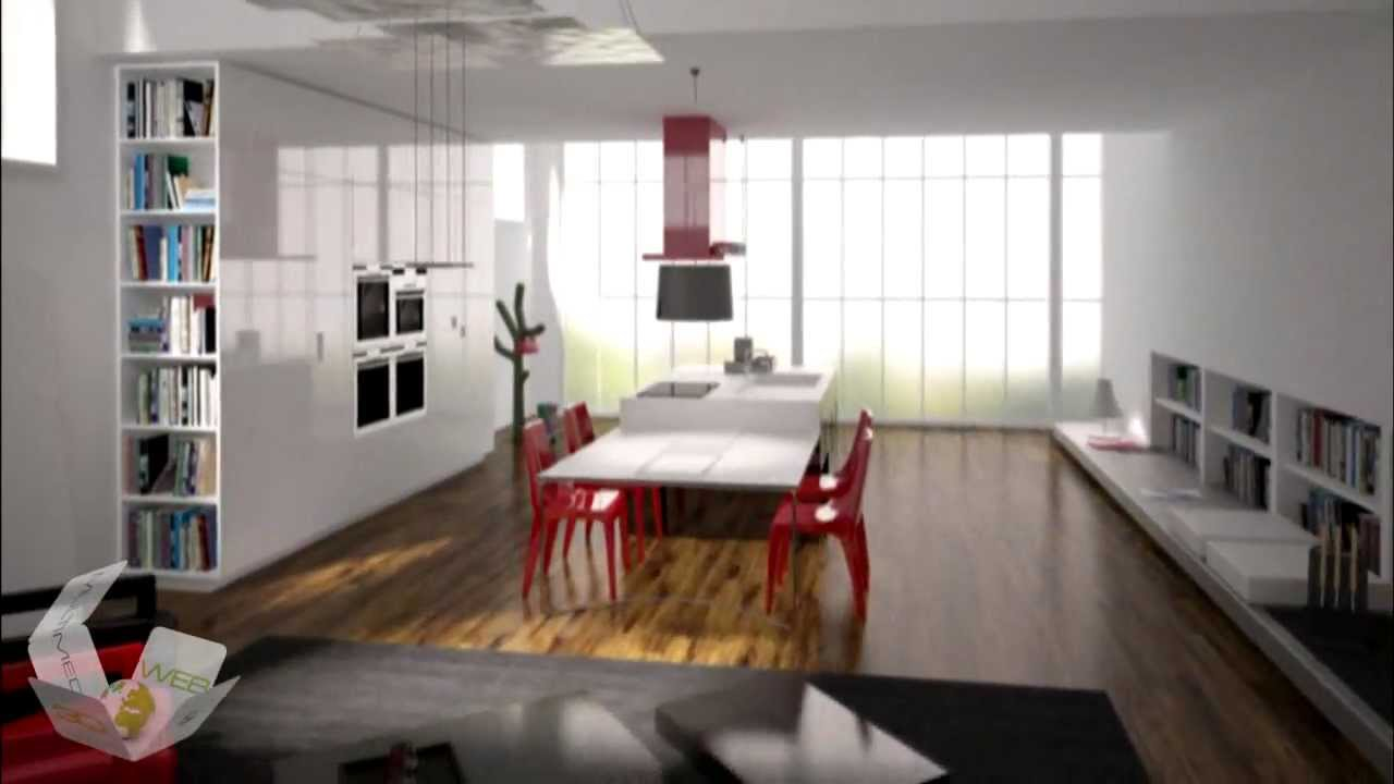 Animazione 3d rendering 3ds max v ray ambiente cucina for Cucina in 3d