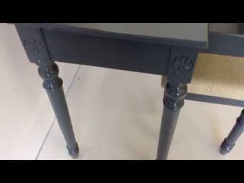 Charlotte blue grey makeup vanity table Poundex F4075
