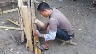 Making Bamboo Holes Nipa Hut Progress Cris Bamboo