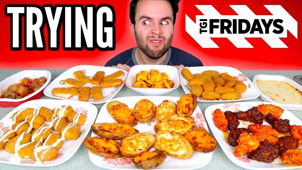 TRYING TGI FRIDAYS FROZEN APPETIZERS! - Chicken Wings, Mozzarella Sticks, &  MORE Taste Test!