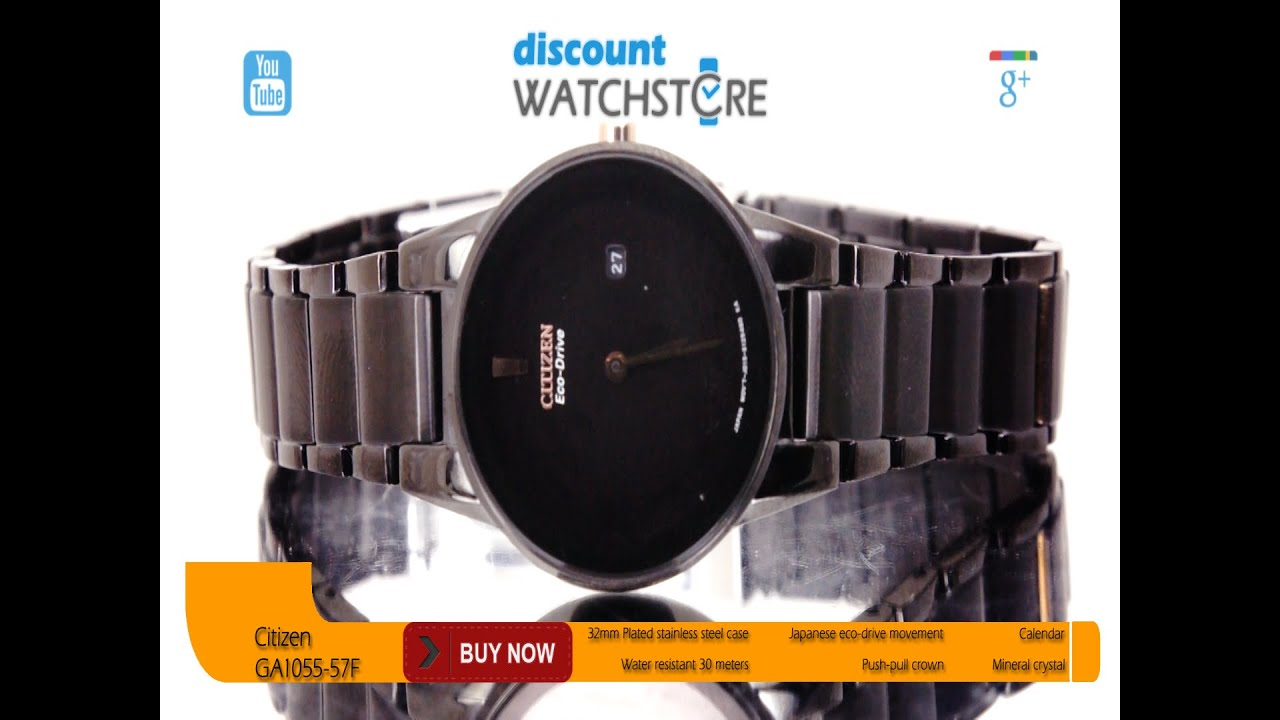 Citizen GA1055-57F Women s Axiom Black Dial Black Ion Plated Steel  Eco-Drive Watch Review Video 2cdb2c1ce9
