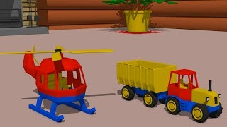 #Helicopter, Truck, Tractor with trailer - decoration factory | Video for babies and Kids | Story