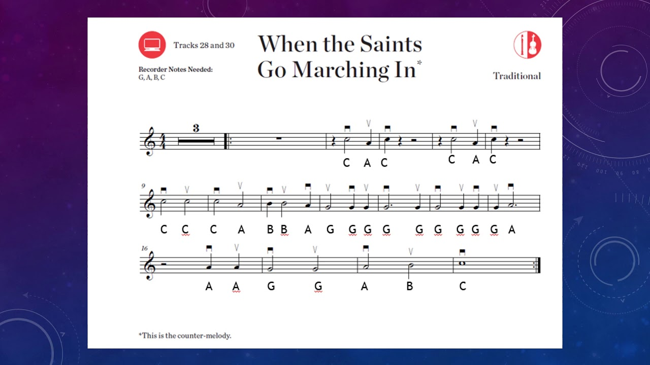 when the saints go marching in melody