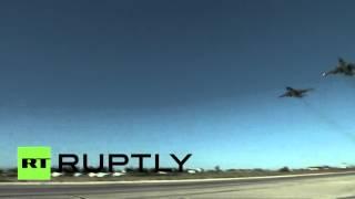 Самолеты Су-24, Су-25 и Су-34 совершают очередной боевой вылет с военной базы в Сирии(С момента начала кампании в Сирии российская военная авиация совершила более 1000 вылетов. ВКС уничтожили..., 2015-11-03T08:31:34.000Z)