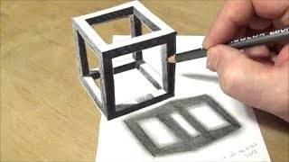 How to Draw Holey Cube - 3D Anamorphic Illusion with Vamos