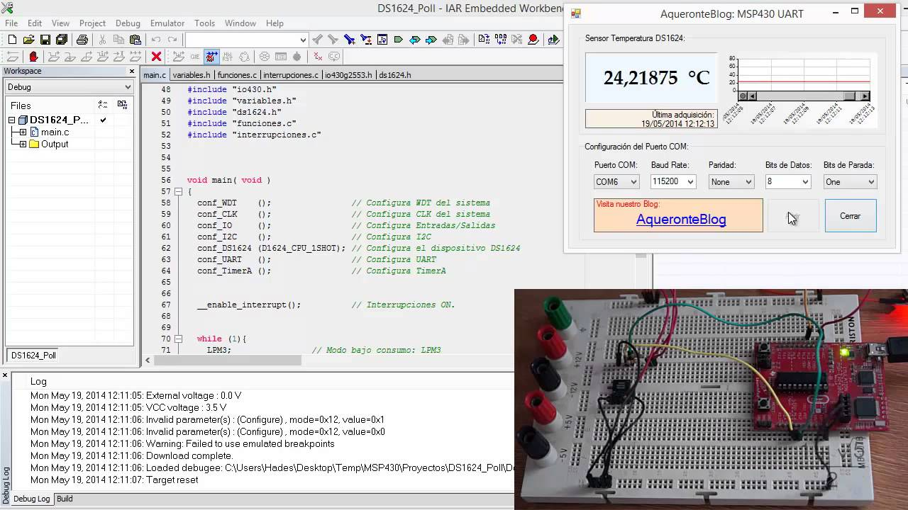 Msp430 launchpad + msp430g2553 + ds1624 + i2c + uart + c# youtube.
