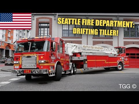 *NEW TILLER* [Seattle] Fire Department Ladder 4 Responding + Drifting!