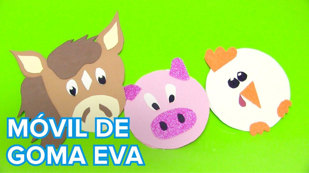Cómo hacer un móvil de animales con goma eva | Manualidades ...