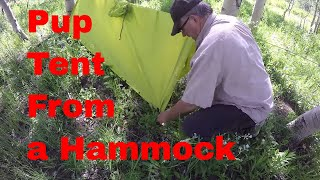 Basic Hammock to Pup Tent Conversion  -  How To - Use Multipurpose Poncho