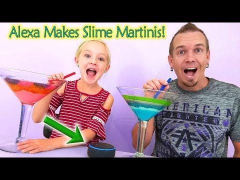 Alexa Picks My Slime Ingredients Challenge!! Slime Martini Smoothie!