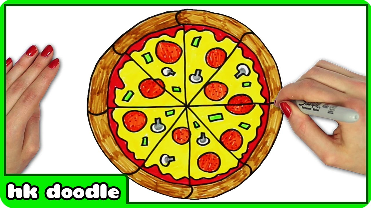 How To Draw A Pizza Easy Step By Step Drawing Tutorials For Kids By Hooplakidz Doodle