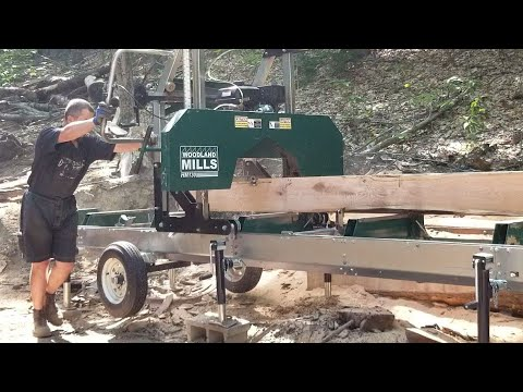 Red Oak Lumber Fresh from the Woodland Mills Sawmill (Bandsaw Mill)