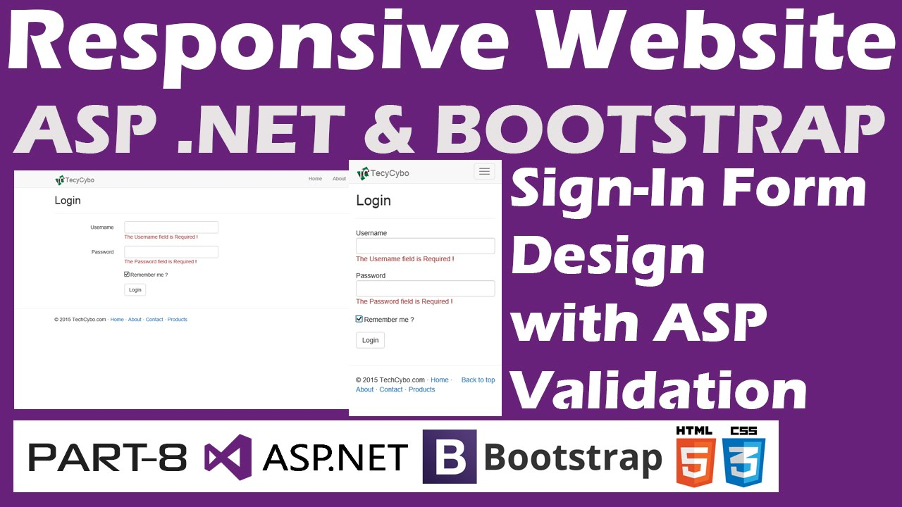 Responsive website asp bootstrap part 8 login page net bootstrap part 8 login page design with validation controls falaconquin