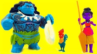 BLUE MAUI Disney Moana Color Mix-Up Rare Toy Game Finger Family Kids Nursery Rhymes