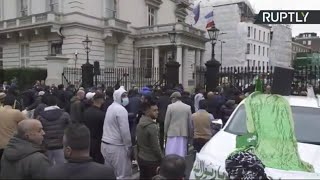 LIVE: Muslim protesters rally outside French embassy in London in opposition to Macron