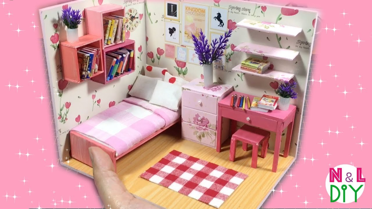 Diy Miniature Dollhouse Bedroom For Girl Youtube