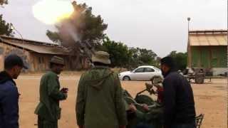 مدفع عيار  14.5  معسكر الدفاع الجوي بنغازي مايو 2011