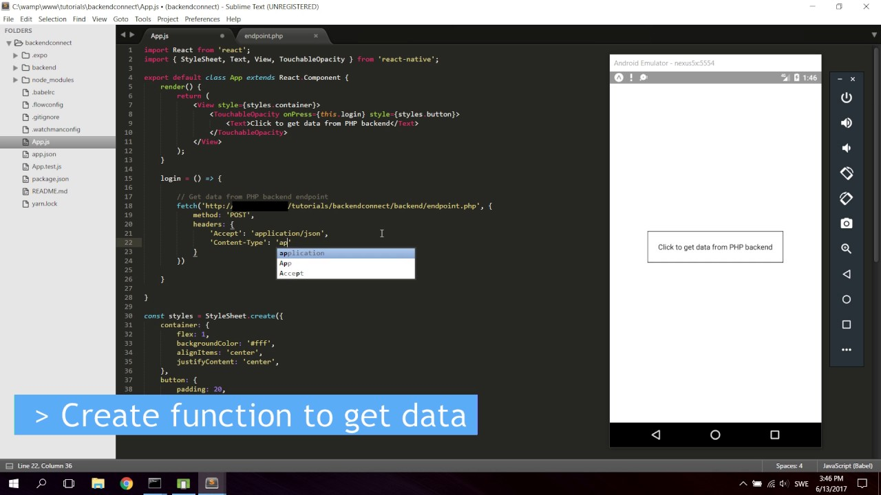 React Native Tutorial - Connect Your App To a PHP Backend