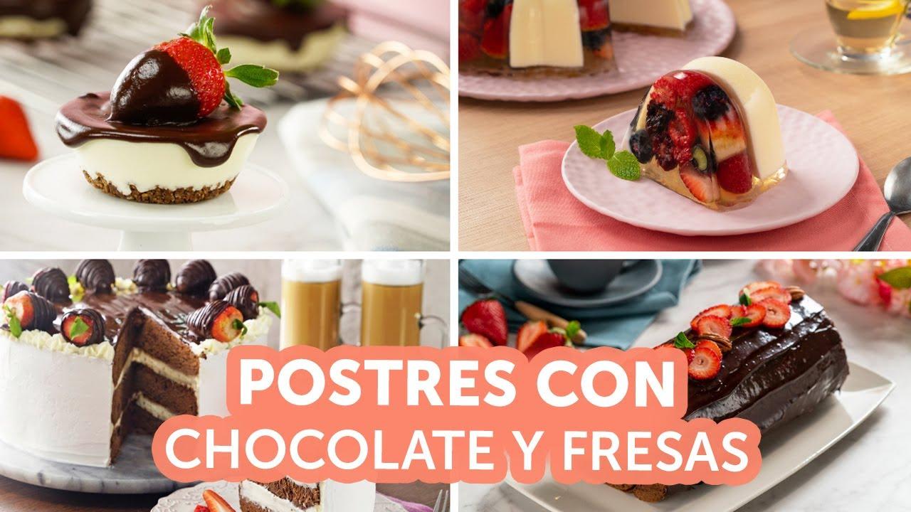 Postres con chocolate y fresas | Kiwilimón