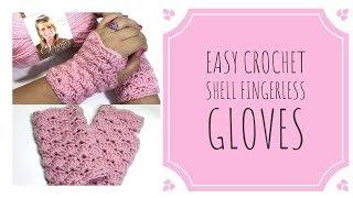Easy Crochet Shell Fingerless Gloves ♡ Great for Beginners! ♡