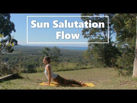 sun salutation flow  10 min traditional yoga practice to