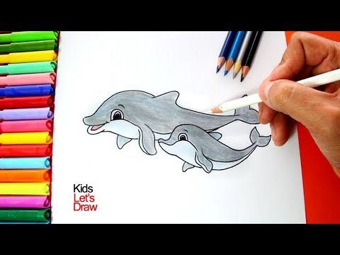 Cómo dibujar un Delfín con su cría bebé | How to draw a Dolphin ...