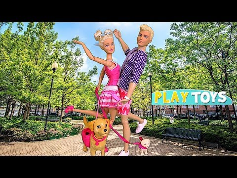 Barbie Girl & Ken Dog Walk in the Park 🎀 Play Barbie Doll Pet Toys!