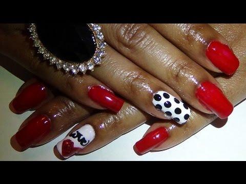 Kerry Washington Polka Dot Inspired Nail Design Red Black White