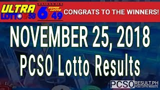 PCSO Lotto Results Today November 25, 2018 (6/58, 6/49, Swertres, STL & EZ2)