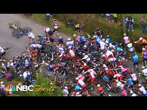 Fan with sign causes huge pile-up in Stage 1 of the Tour de France | Cycling on NBCSports
