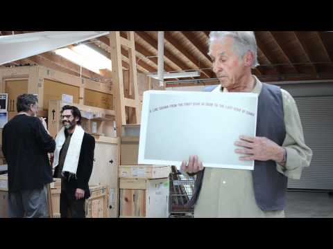 "The Drawing Center Gala: Ed Ruscha's parody of Bob Dylan's video for ""Subterranean Homesick Blues"""
