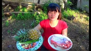 Cooking skills | fried pork with pineapple - primitive life | survival skills. HT
