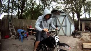 My friend and his mini bike.