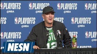 Drew Bledsoe crashes Game 5 Celtics-76ers press conference